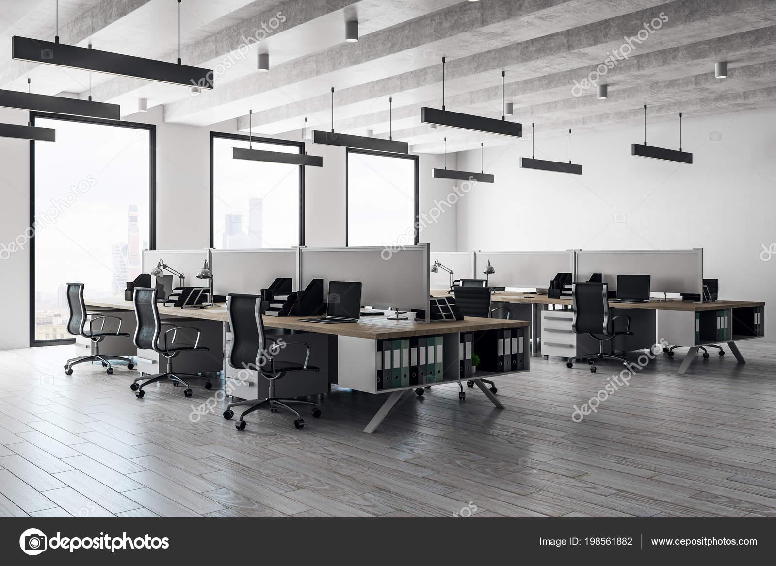 Zeitgenössische Coworking Büroeinrichtung Mit Panoramablick Auf Die ...