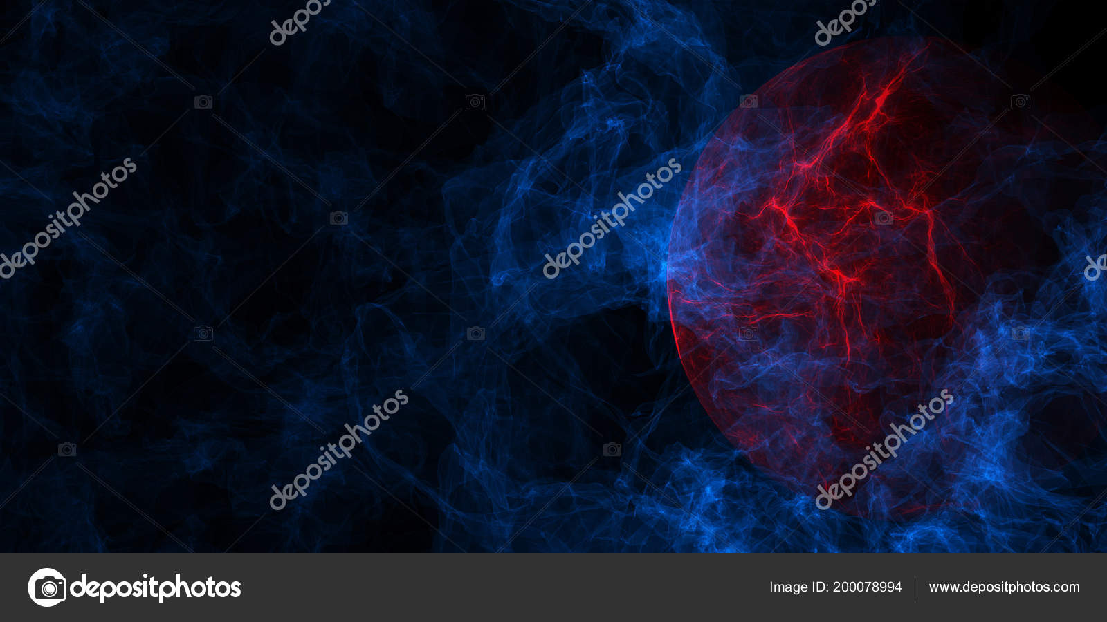Abstract Blue Smoke Red Planet Background Copy Space Mystery