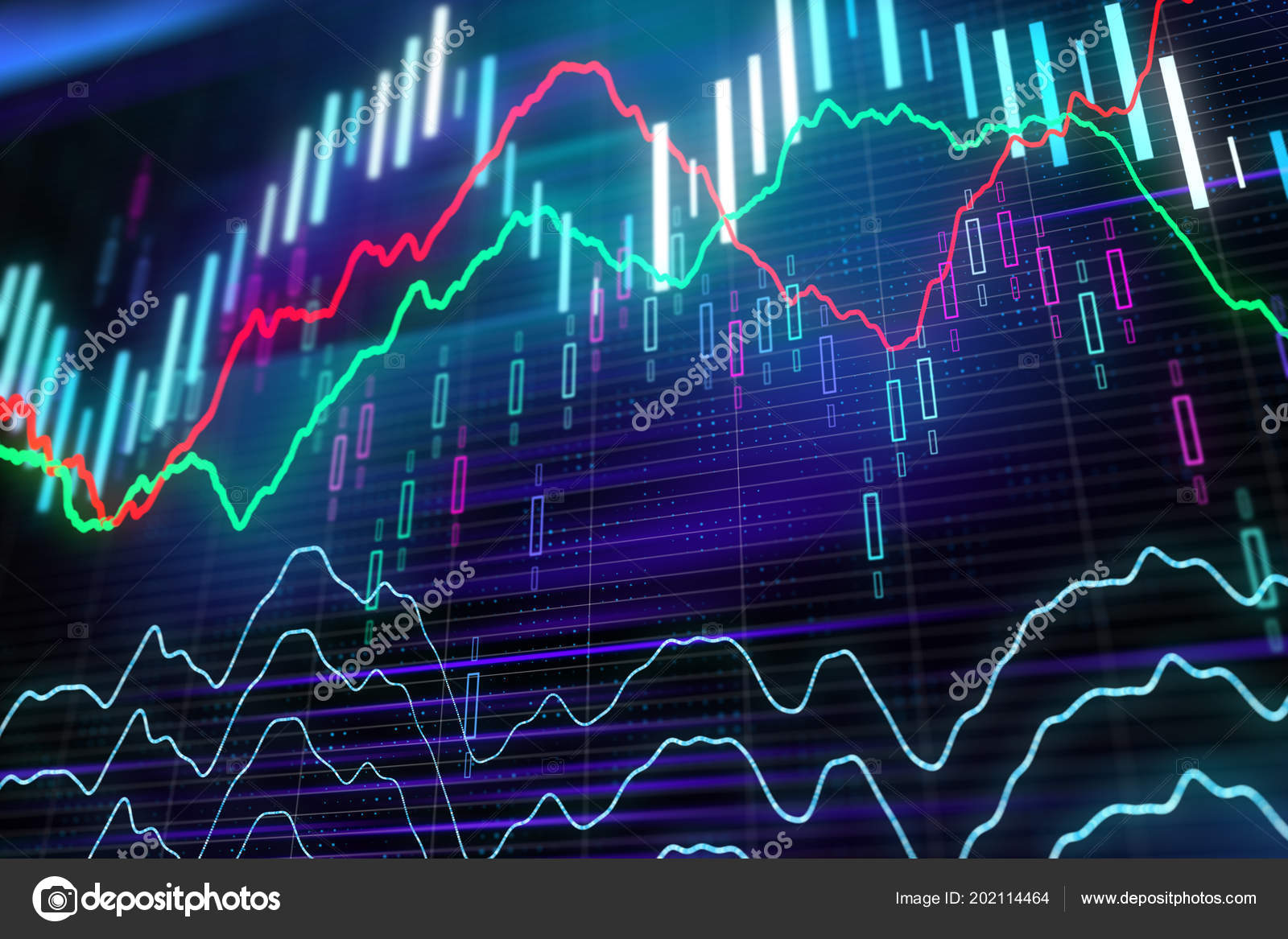 edb3602a46 Forex Grafici Ardore Diversi Colori Che Mostra Situazione Dei Mercati–  immagine stock