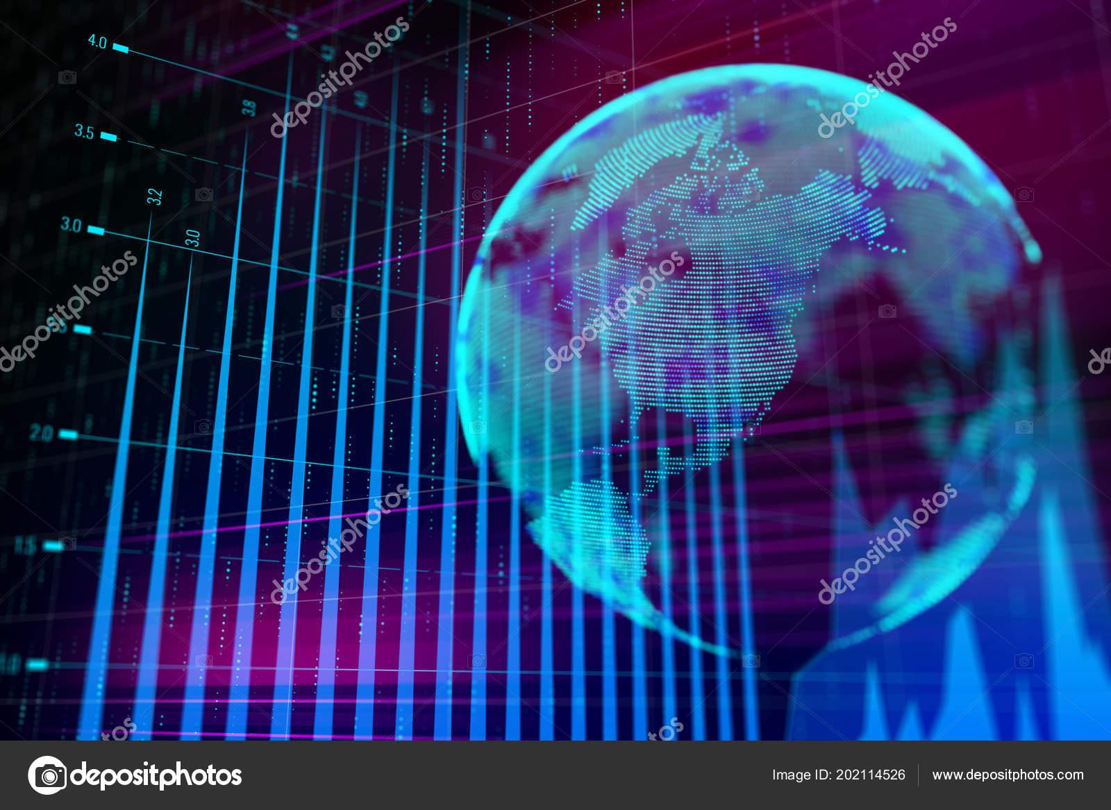 Forex Market Chart Volumetric Globe Digital Abstract