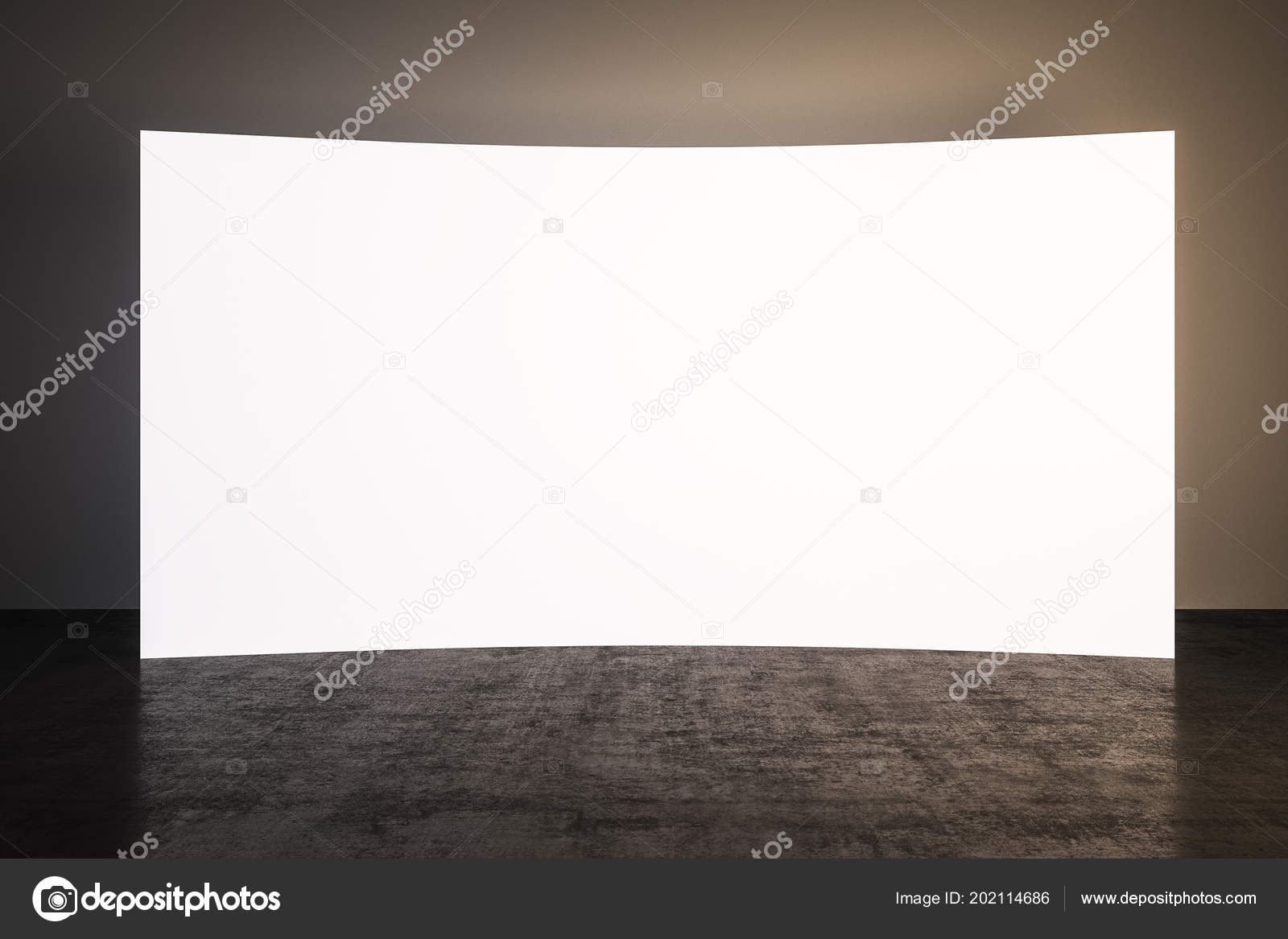 Concrete Room Blank White Screen Board Render — Stock Photo
