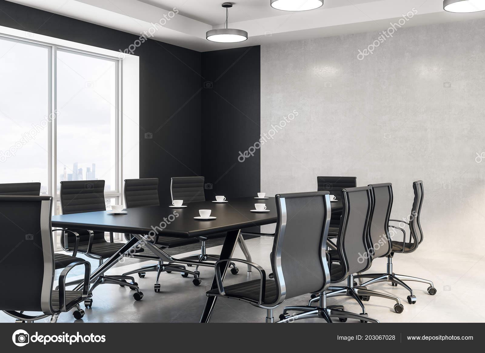 Vista laterale nero riunione tavolo sedie sala conferenze moderna