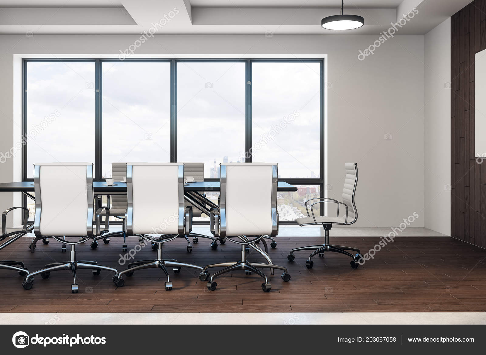 Modern conference room with chairs and meeting table on wooden floor and  windows floor-to-ceiling. 49D rendering 2049067058