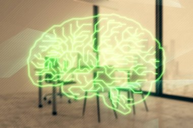 Brain sign hologram with minimalistic cabinet background. Double exposure. Ai concept.