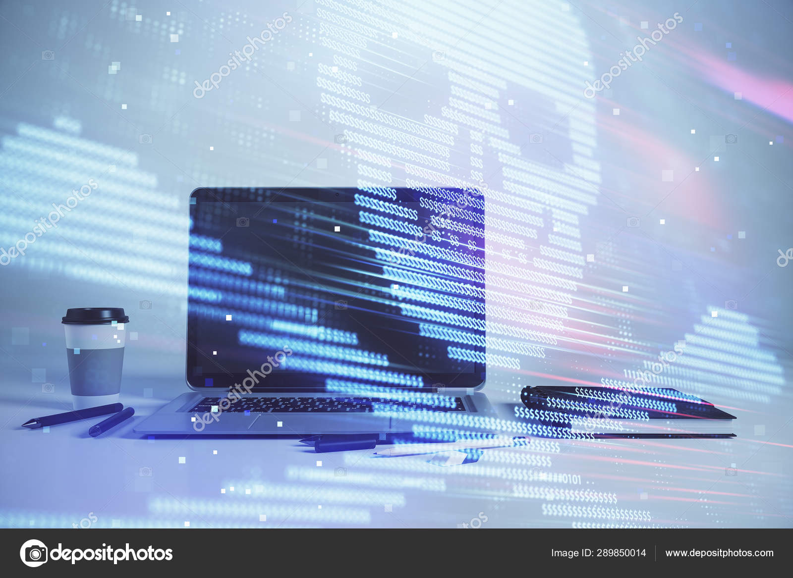 Hacking Theme Hologram With Desktop Office Background Double