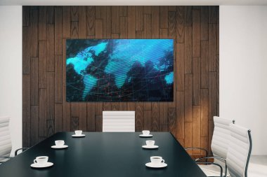 Conference room interior with world map on screen monitor on the wall. International market concept. 3d rendering.