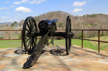 An artillery piece located at the visitor center helps interpret the history of the Civil War at Cumberland Gap National Historical Park in the states of Kentucky, Tennessee, and Virginia