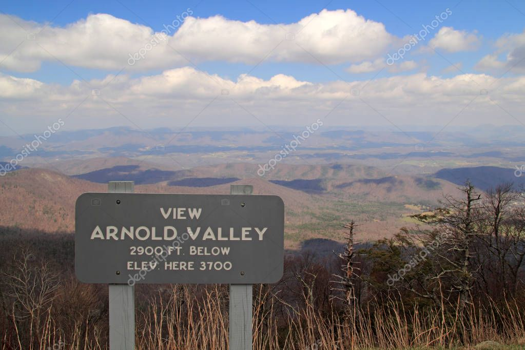 The view of the Arnold Valley is one of the numerous viewpoints located along the Blue Ridge Parkway in the state of Virginia