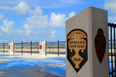 A memorial honors Africans who are buried at Higgs Beach in Key West, Florida
