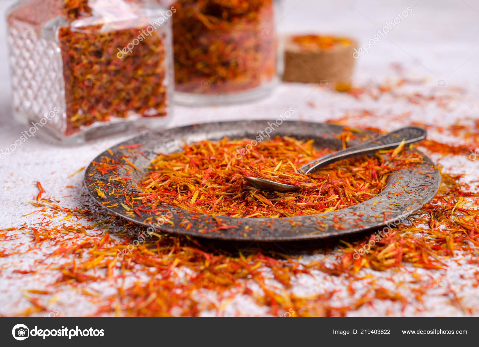 Traditional Dry Saffron Spice Stone Background Selective