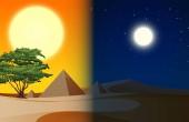 Fotografia Illustrazione della scena del deserto piramide di giorno e sera