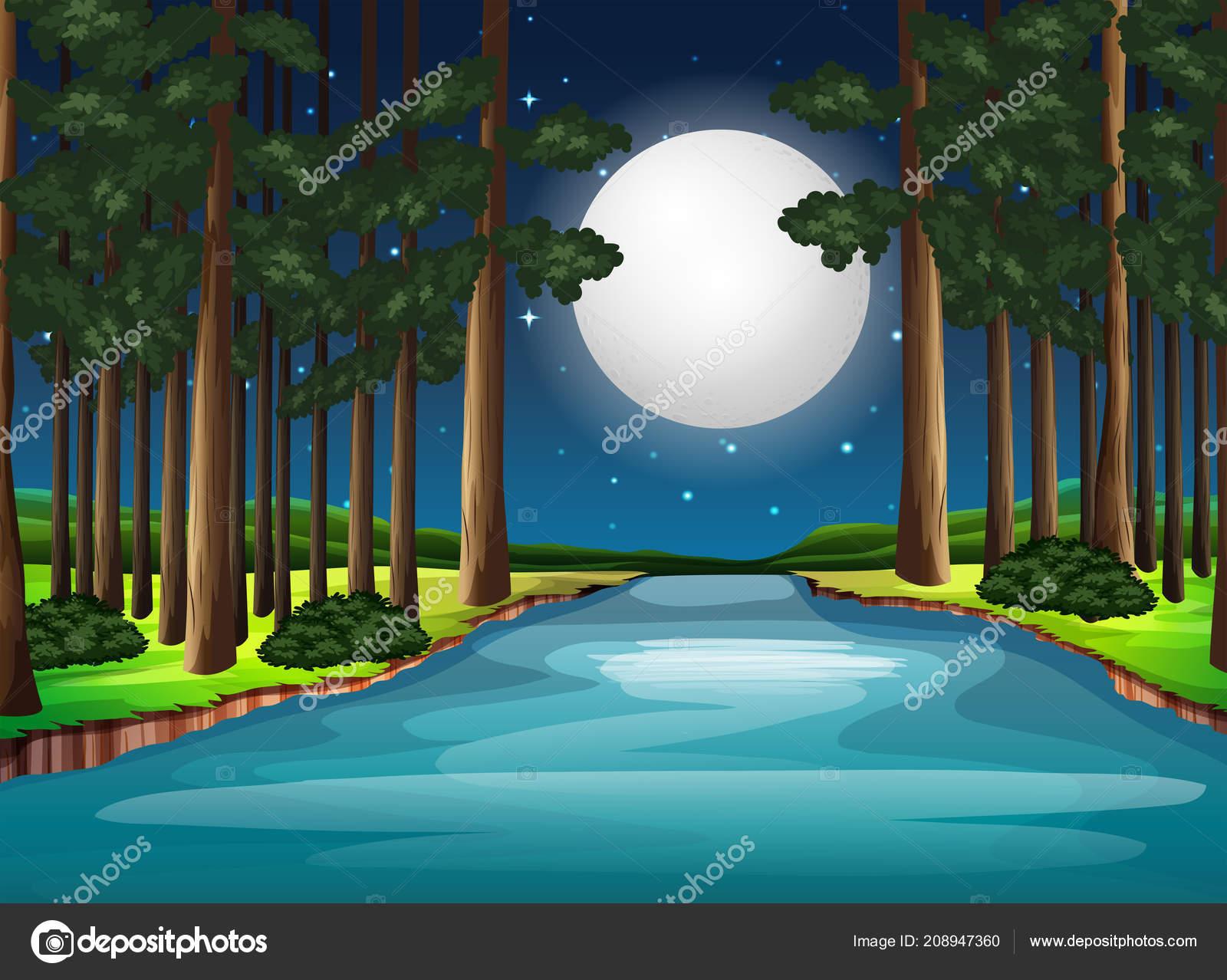 beautiful nature landscape night illustration — stock vector