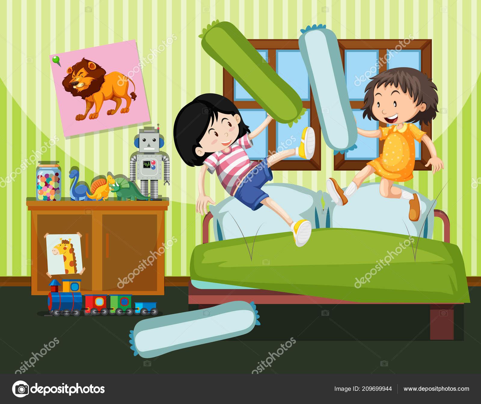 65d6bafcdd Dos Chicas Con Una Almohada Luchan Ilustración — Vector de stock ...