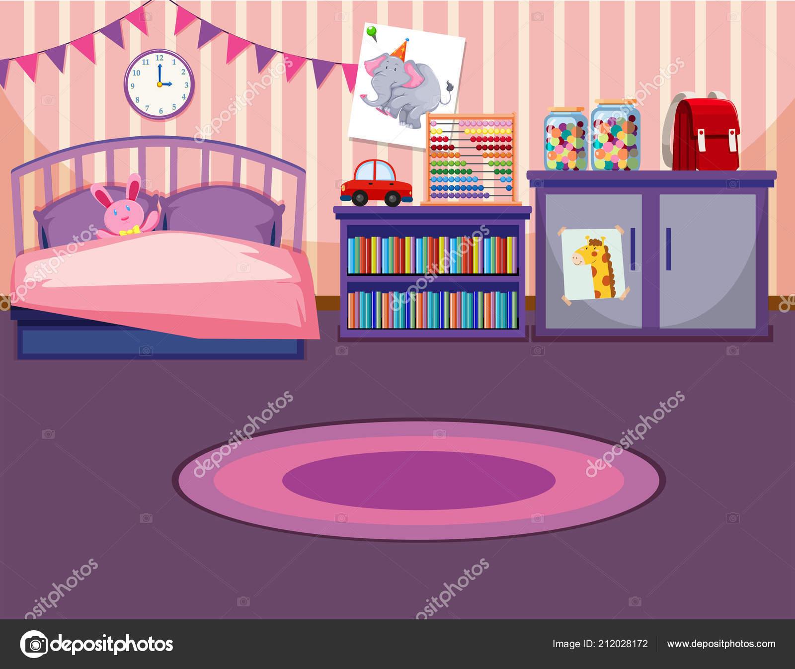 Une Illustration Modèle Chambre Fille — Image vectorielle ...