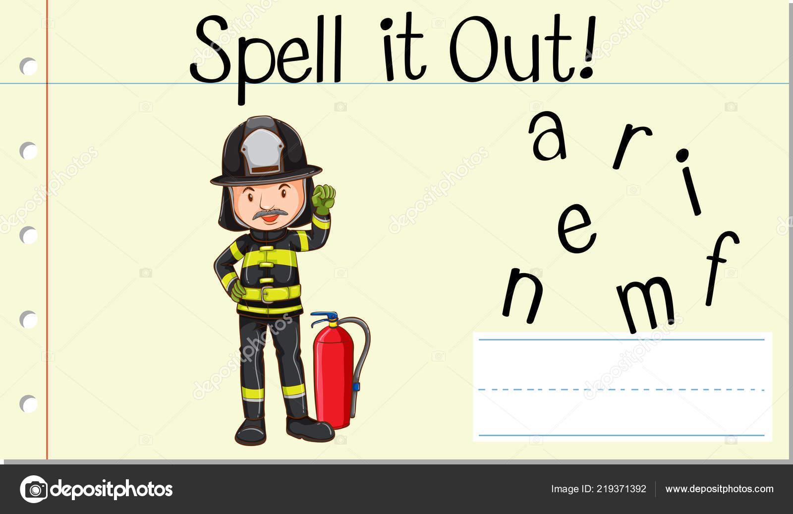 Rechtschreibprüfung Englisch Wort Feuerwehrmann Abbildung