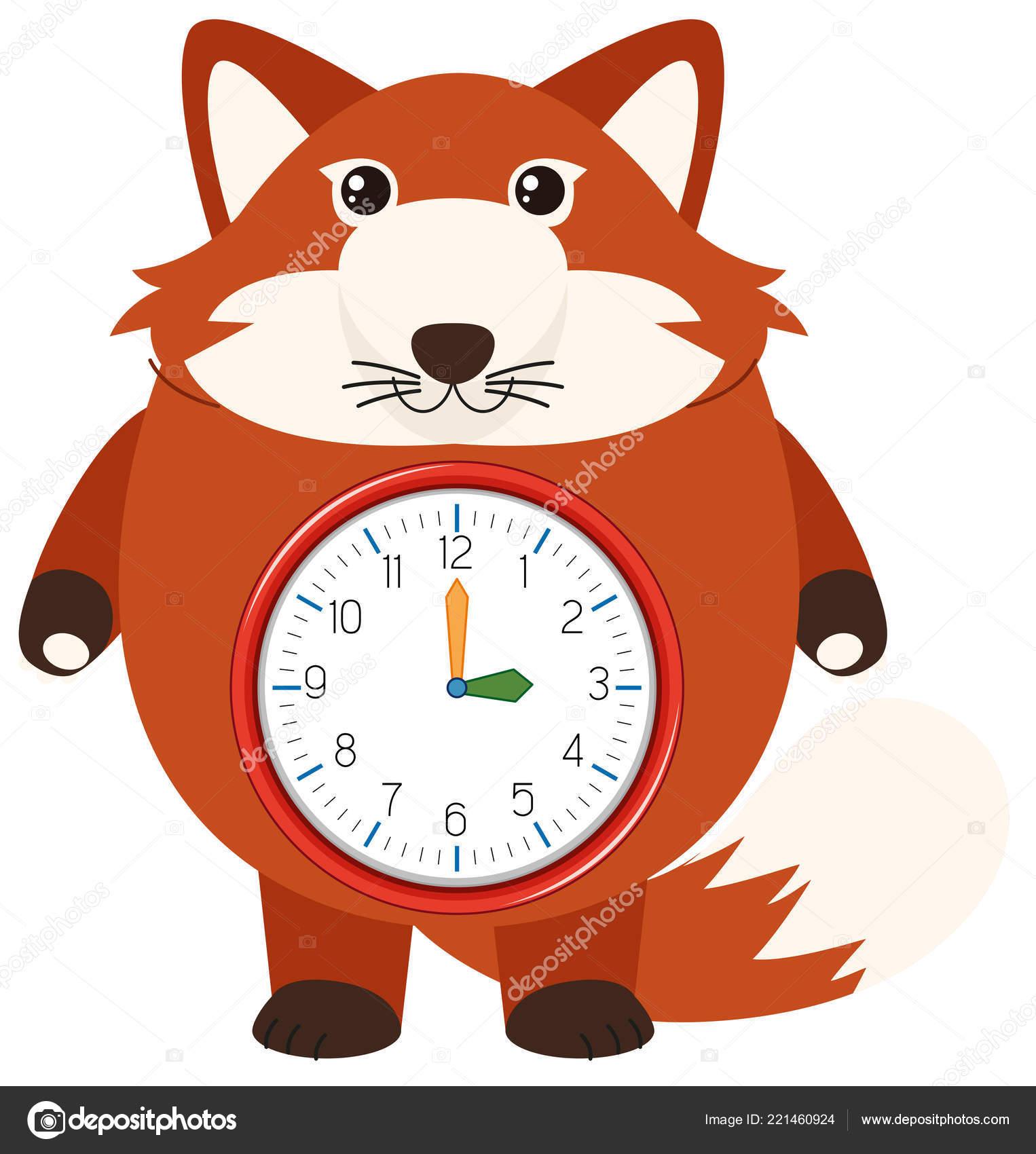98de53aee71 Uma Ilustração Relógio Raposa Vermelha — Vetor de Stock ...