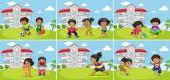 Sada tuku děti cvičení ilustrace