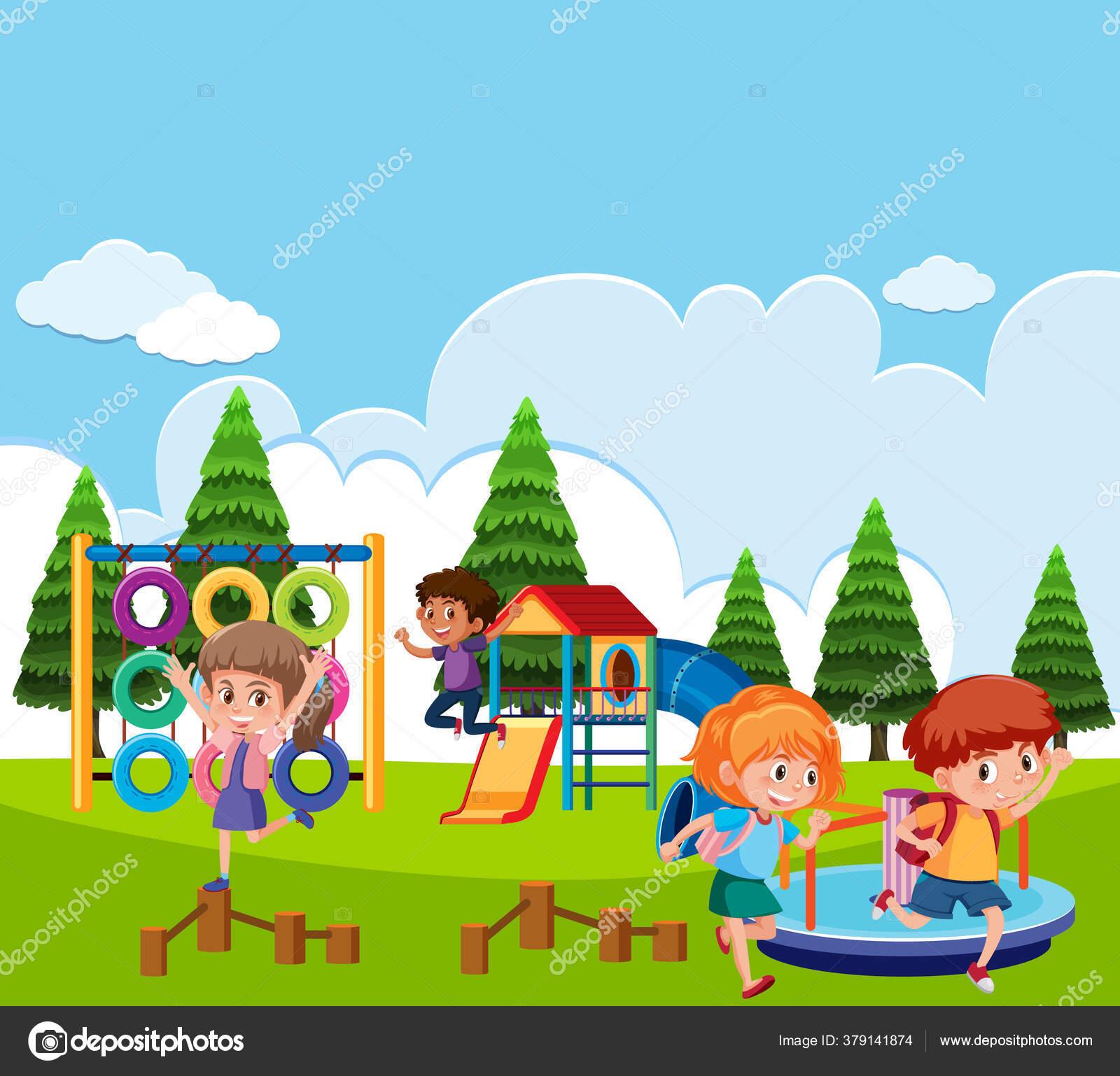 Gambar Ilustrasi Taman Bermain Adegan Dengan Anak Anak Bermain Taman Ilustrasi Stok Vektor