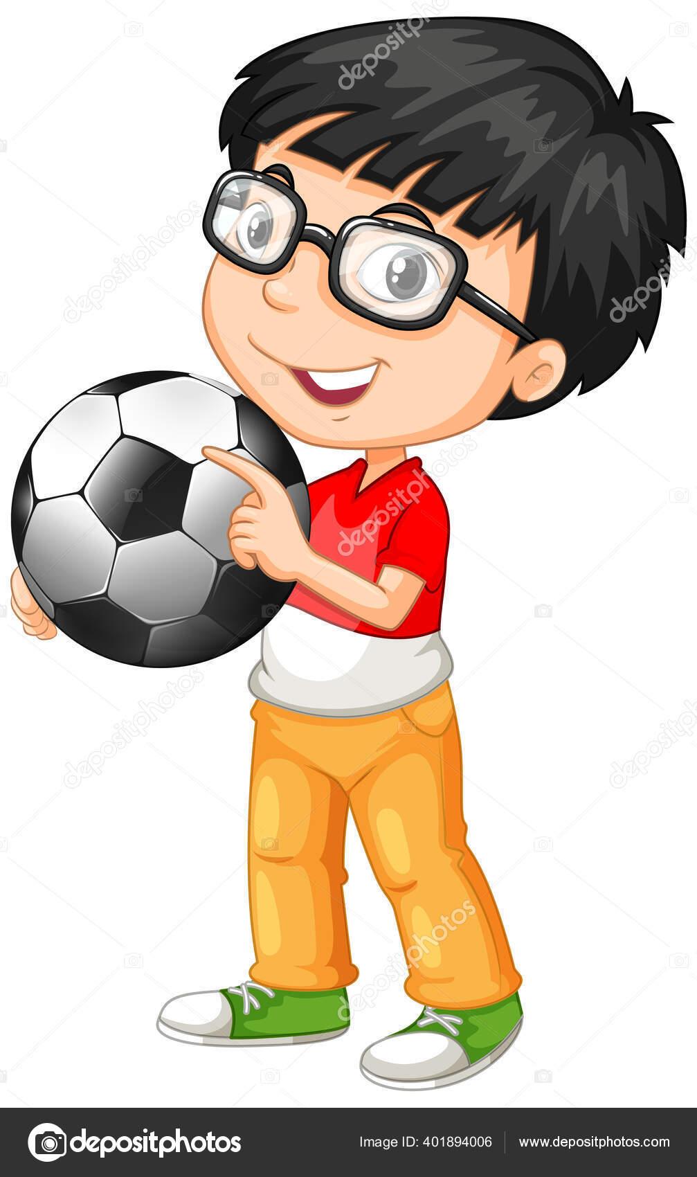 Anak Laki Laki Lucu Karakter Kartun Memegang Ilustrasi Sepak Bola Stok Vektor C Blueringmedia 401894006
