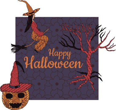 Happy Halloween! Banner. A witch on a broomstick, a tree, a smiling pumpkin in a witch's cap, a square gray background with patterns in the style of Zenart. In the middle is the inscription. Vector.