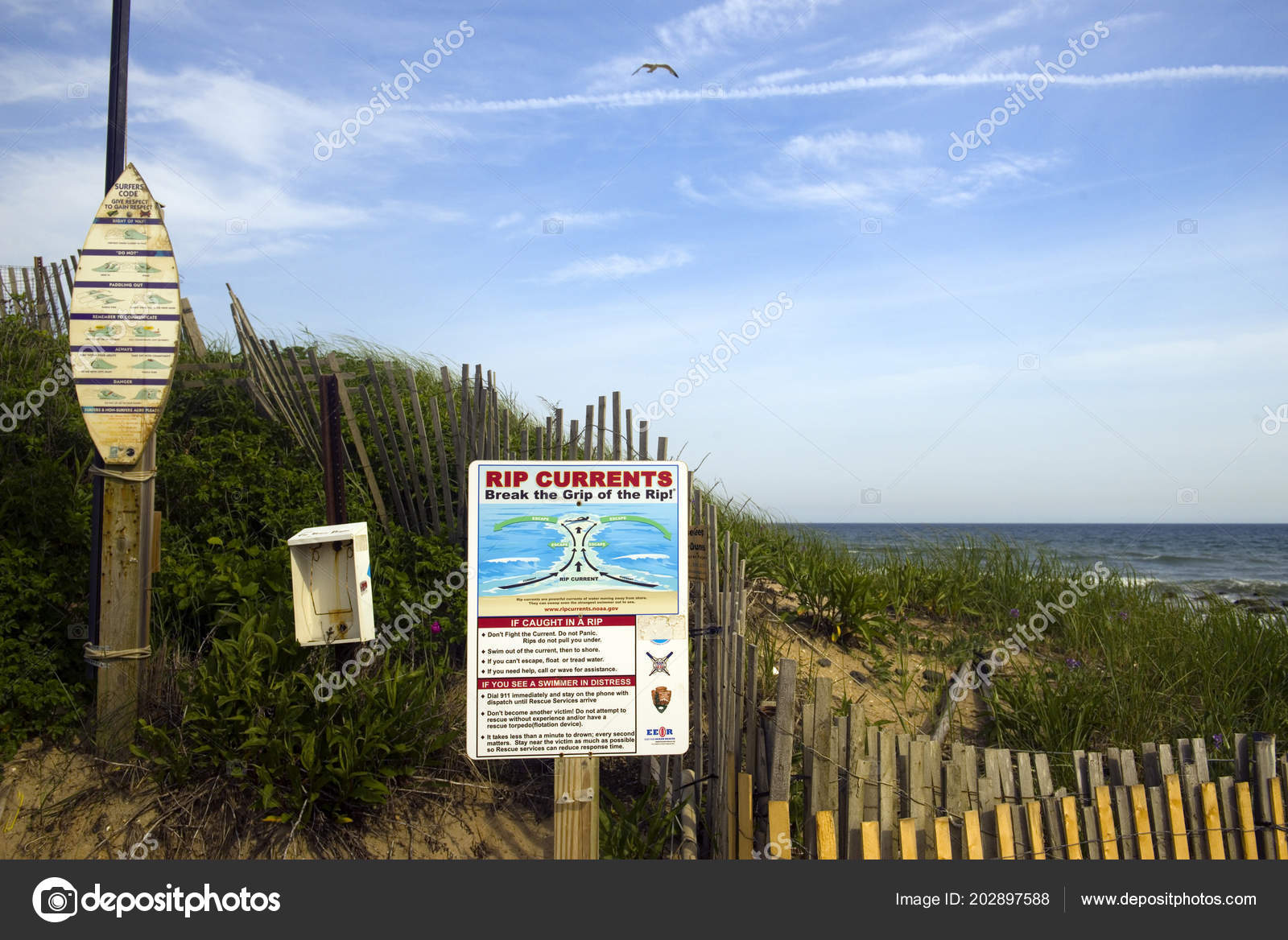 Montauk New York June Rip Current Warning Surfer Rules Signs
