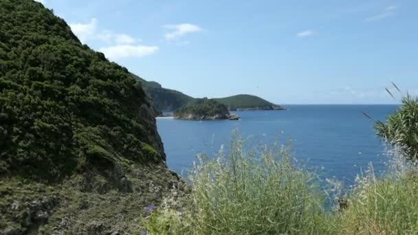 Luftaufnahme der Bucht von Paleokastritsa auf der Insel Korfu (Griechenland). Wald rund um die Küste. klares Wasser.