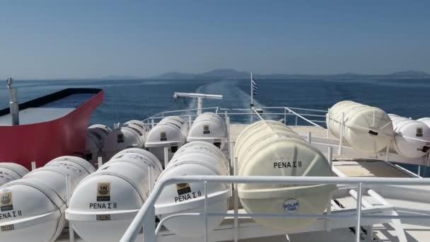 Korfu, Corfu / Griechenland 29. Mai 2018: Ausflug mit dem Boot von Korfu-Stadt (Griechenland) in Richtung Saranda (Albanien). Weitergabe von Pantokrator Bergen.