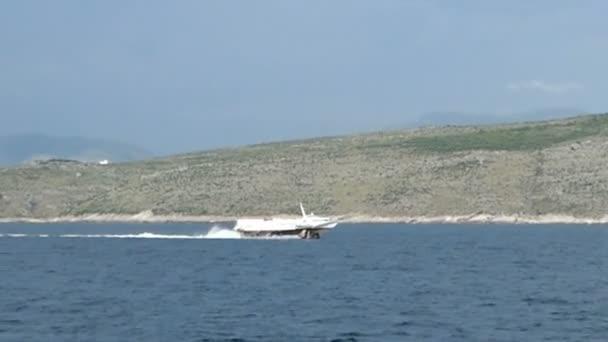 Saranda, Vlor County / ALBANIA May 29 2018: hydrofoil is passing by the coat of Albania towards Corfu Island. (Greece). Speed boat.