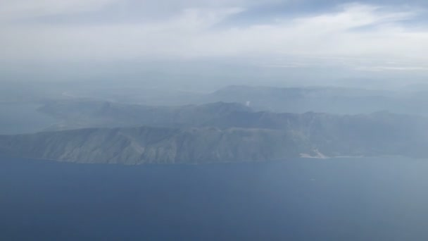 flying over Vlora in Albania. Aerial view of city and adriatic Sea.