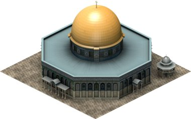 Isometric architecture, dome of the rock Jerusalem. 3D rendering