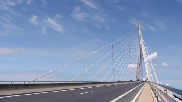 LE HAVRE, FRANCE - 15 AUGUST, 2018: Pont de Normandy. Large bridge over river Seine. Normandy France