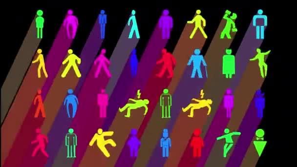 Sequenz aus verschiedenen graphischen Bildern von männlicher und männlicher Beschilderung