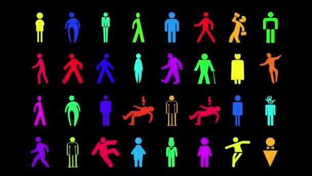 sekvence z různých grafických obrázků muže a muži značení