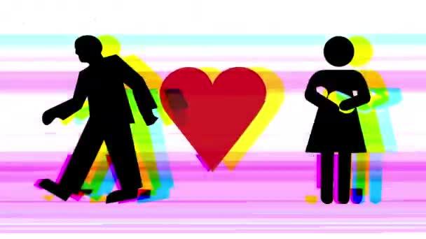 sekvence z různých grafické obrázky mužských a ženských znaků s symbol srdce