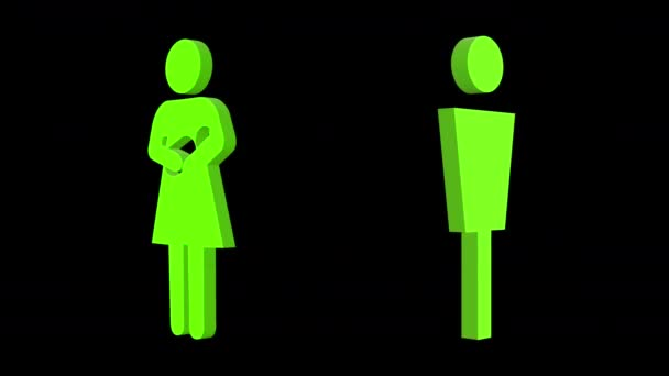 3d sequence made from different graphic images of male and female signs and symbols