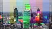 csodálatos london cityskyline televízió fénylik és torzítás leképezve az épületek felett.