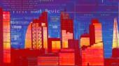 London city skyline adatok és a számítógép-programozás rá az épület homlokzatára leképezett adatokat