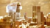 London city televíziós fénylik és a torzítás, leképezve a látóhatár felett