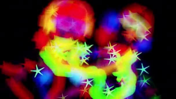 Dvě ženské disco tanečnice v Uv světélkující kostým na černém pozadí