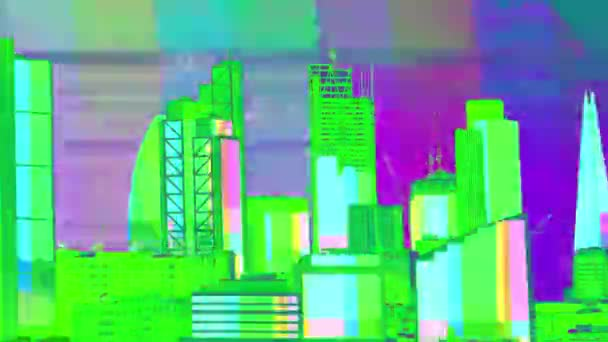 amazing london city timelapse with television and video test patterns mapped onto the building facades