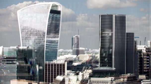amazing london city timelapse with the building distorted with television glitch and video static