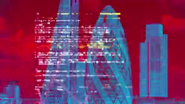 amazing london city skyline timelapse with data and computer programming information mapped onto the building facades