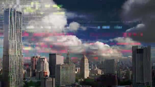 amazing new york city time lapse with data and computer programming information mapped over the skyline
