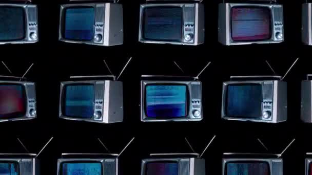 cutout retro televisions turning space distortion screens stock