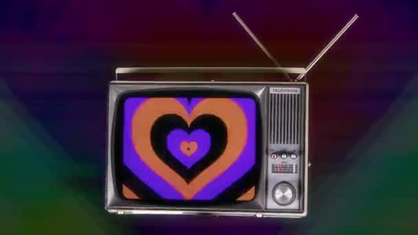 Fernsehen rotiert im Raum mit einem pumpenden Herzmuster auf dem Bildschirm