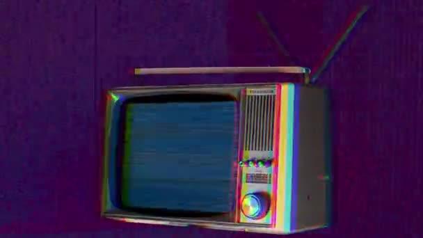 kivágott retro televíziós fordult a torzítás a képernyő tér