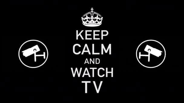 Ruhe bewahren und TV-Schriftzüge mit Videokameras beobachten