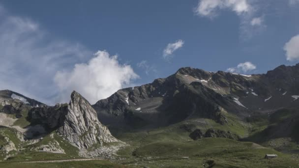 Great St Bernard Pass and surrounding mountains in the Alps where Italy and Switzerland meet