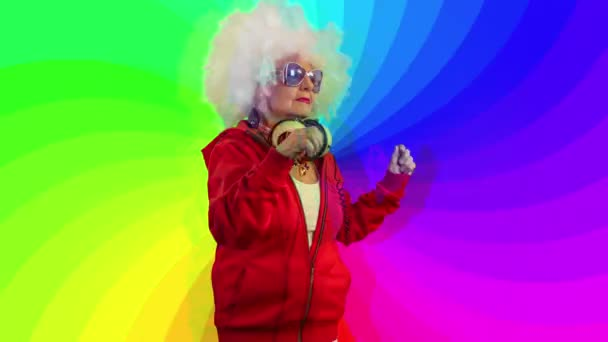 dancing older woman with headphones, disco style, with colorful swirl background
