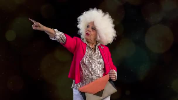 an amazing grandma disco dancer, older lady partying in a hypnotic colourful disco setting